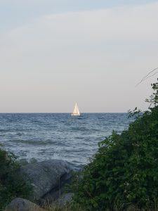 Segelboot in den Sonnenuntergang